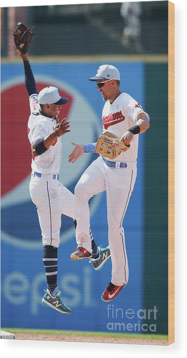 People Wood Print featuring the photograph Lonnie Chisenhall and Francisco Lindor by Ron Schwane