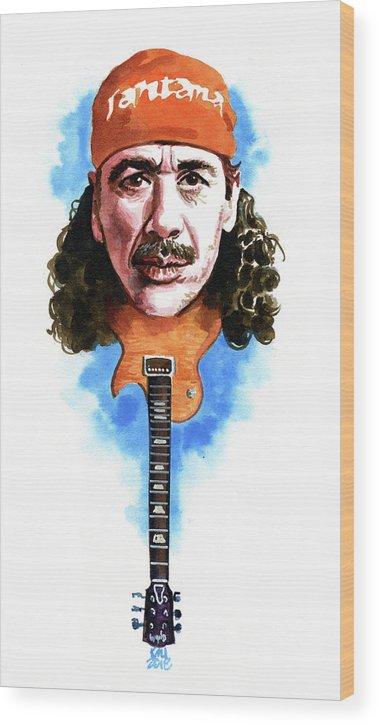Carlos Santana Wood Print featuring the painting Santana by Ken Meyer jr