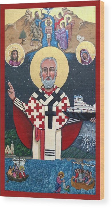 Wood Print featuring the painting St. Nicholas Patron of Mariners by Kelly Latimore