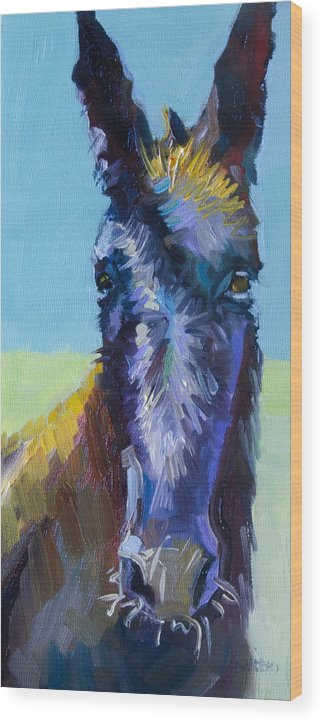 Burro Wood Print featuring the painting Burro Stare by Diane Whitehead