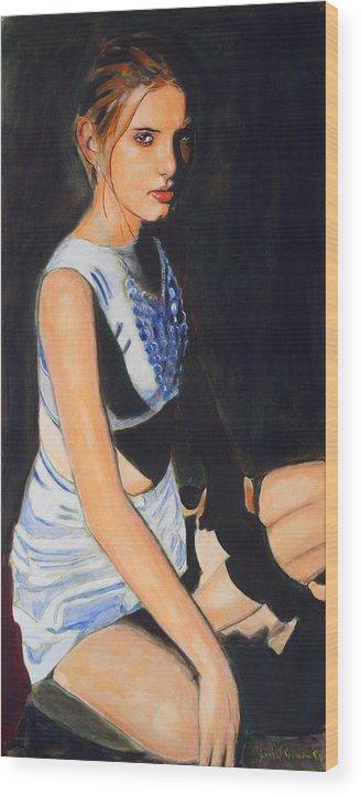 Earth Princess - Eyes Of Steel Wood Print featuring the painting Earth Princess - Eyes of Steel by Jean-Paul Setlak