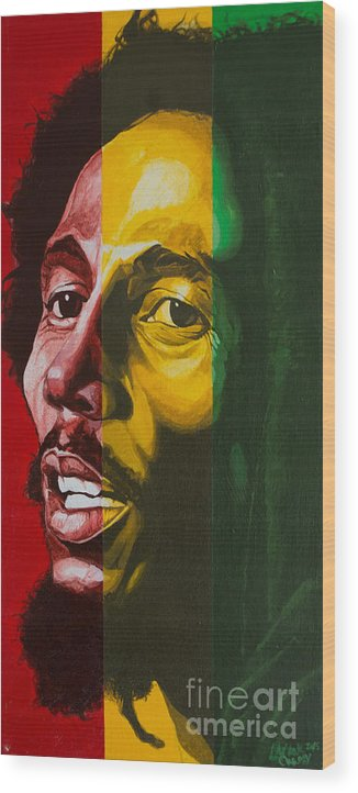 Bob Marley Wood Print featuring the painting Ras Tafari by Lamark Crosby