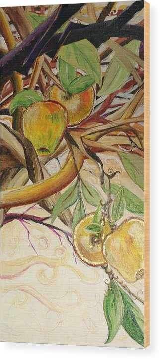 Apple Wood Print featuring the painting Fifth World Two by Kate Fortin