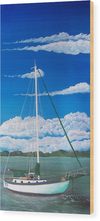 Anchored Wood Print featuring the painting Anchored by Tony Rodriguez
