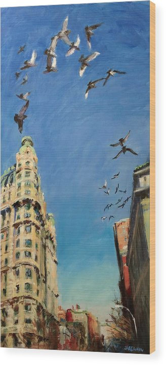 New York Wood Print featuring the painting Broadway Pigeons No. 1 by Peter Salwen