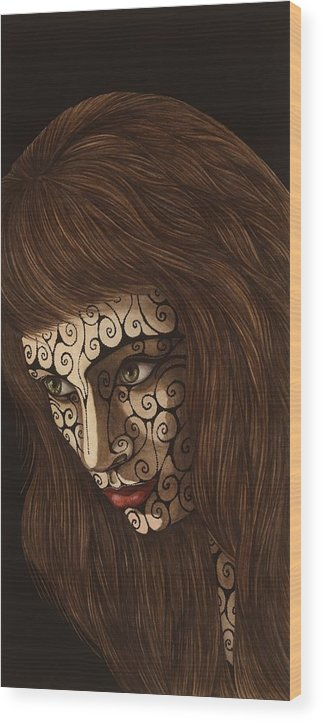 Watercolor Wood Print featuring the painting Jezebel II by Tina Blondell