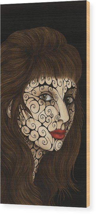 Figurative Wood Print featuring the painting Jezebel III by Tina Blondell