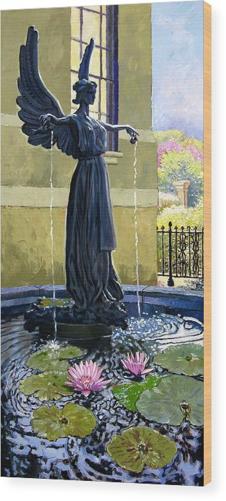 Garden Fountain Wood Print featuring the painting Living Waters by John Lautermilch