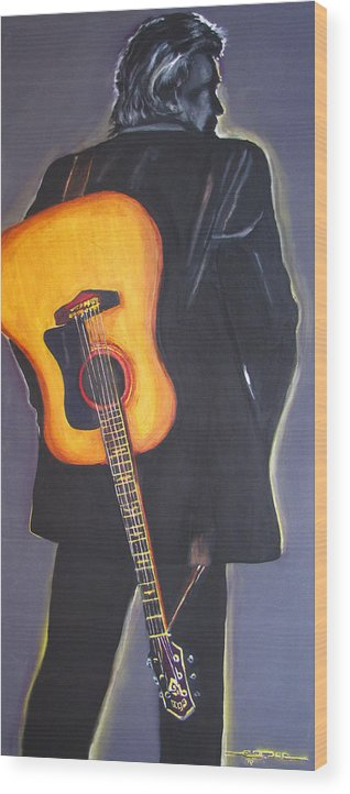 Johnny Cash Wood Print featuring the painting Man in Black's Back by Eric Dee