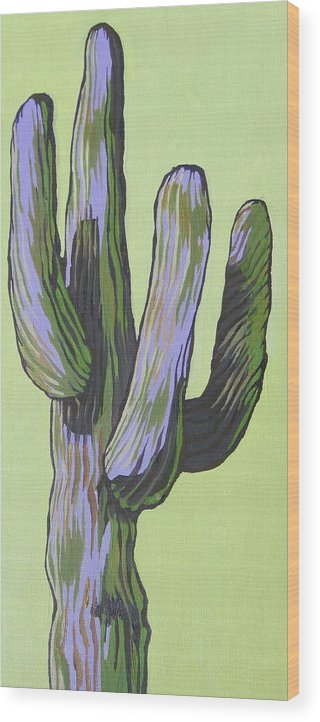 Saguaro Wood Print featuring the painting Saguaro 5 by Sandy Tracey