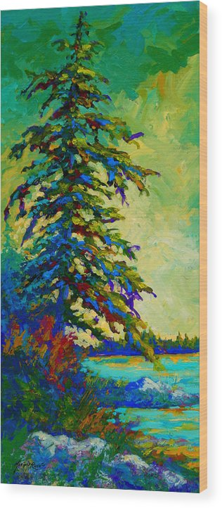 West Coastal Wood Print featuring the painting West Coast Sentinel by Marion Rose