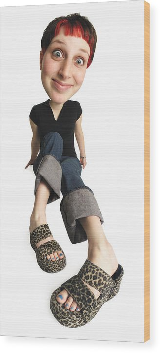 White Background Wood Print featuring the photograph Caricature Of Young Caucasian Woman In Jeans And Black Shirt Legs Outstretched Sitting And Smiling by Photodisc