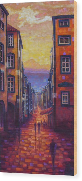 Clermont-ferrand Wood Print featuring the painting Rue des Gras by Rob Buntin