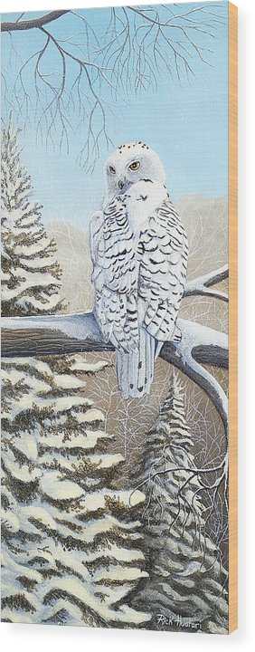 Rick Huotari Wood Print featuring the painting Snowy Owl by Rick Huotari