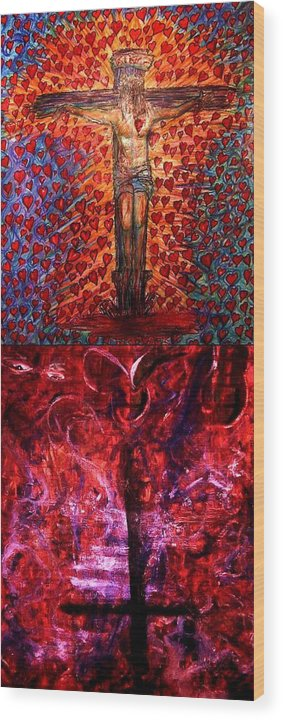 Jesus Wood Print featuring the painting Faith or fall by Richard Hubal