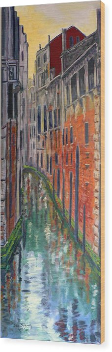Venice Canal Wood Print featuring the painting Back Alley by Dan Bozich