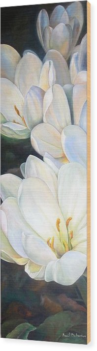 Floral Painting Wood Print featuring the painting Crocus by Muriel Dolemieux