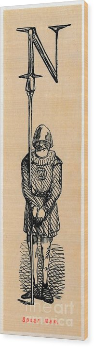 Panoramic Wood Print featuring the drawing Spear Man by Print Collector