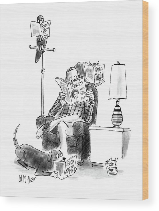 No Caption Man Sits Reading Bird Reads Wood Print featuring the drawing New Yorker June 15th, 1987 by Warren Miller