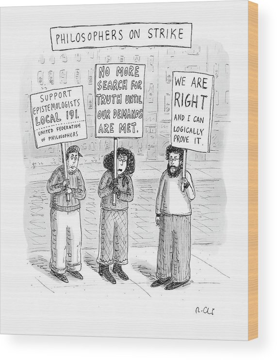 Strike Wood Print featuring the drawing New Yorker December 3rd, 2007 by Roz Chast