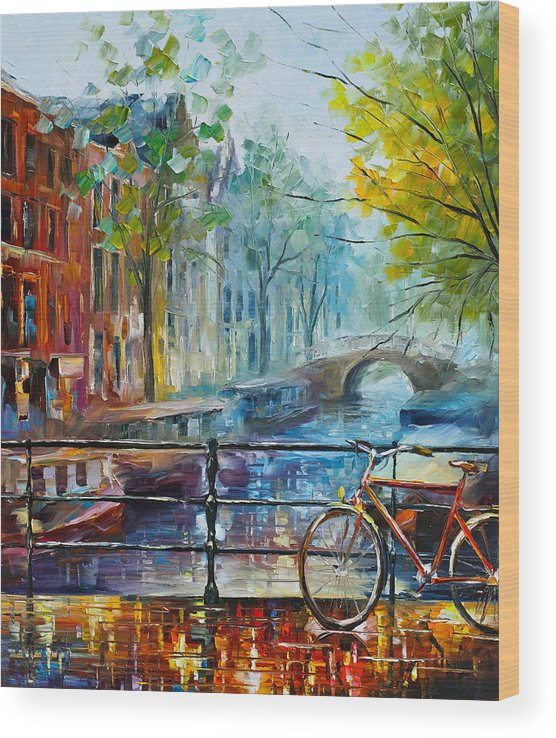 Amsterdam Wood Print featuring the painting Bicycle in Amsterdam by Leonid Afremov