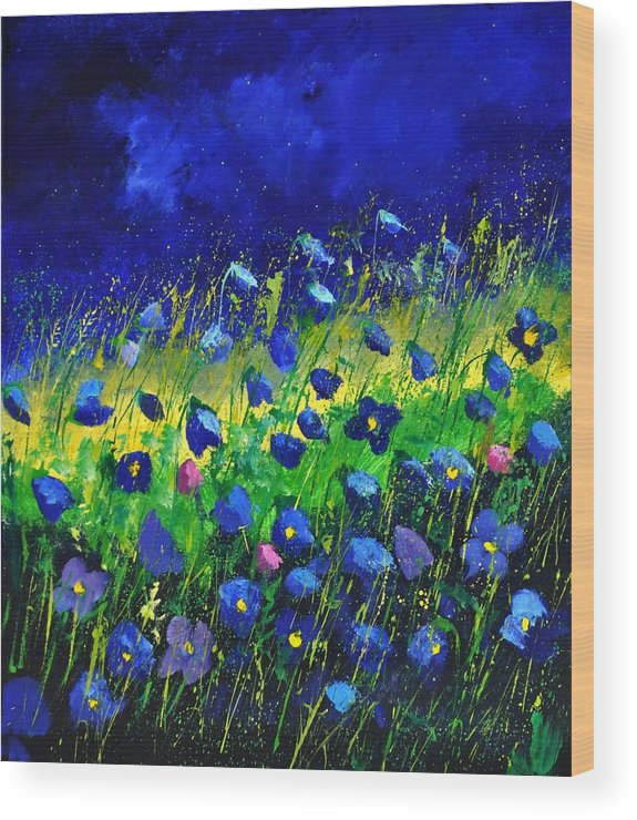 Landscape Wood Print featuring the painting Blue poppies 674190 by Pol Ledent