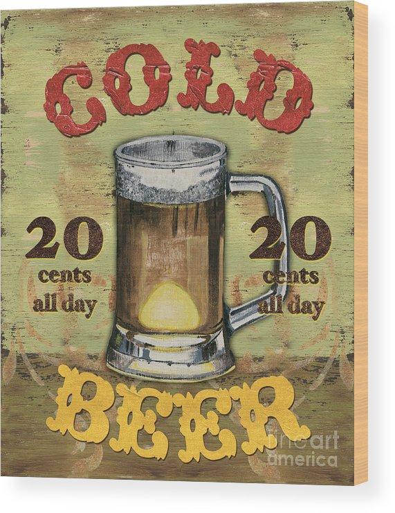 Food Wood Print featuring the painting Cold Beer by Debbie DeWitt