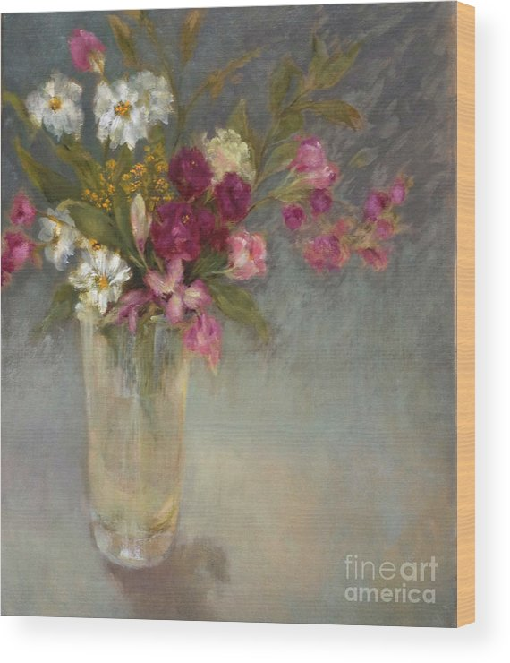 Daisies Wood Print featuring the painting Daisies and Fresia by Kathleen Hoekstra