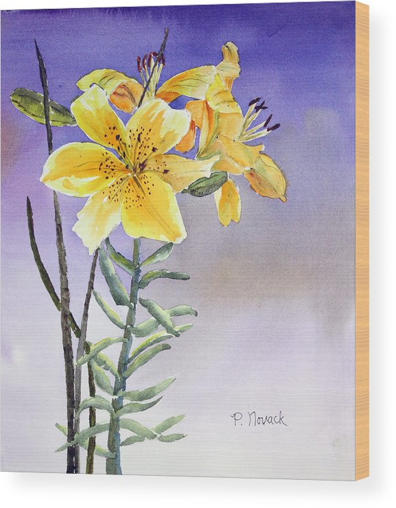 Lily Wood Print featuring the painting Daylilies by Patricia Novack