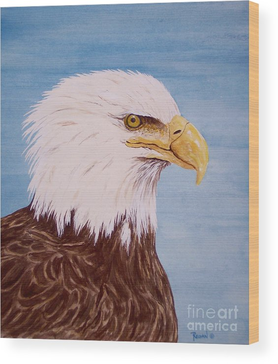 Eagle Wood Print featuring the painting Eagle by Regan J Smith