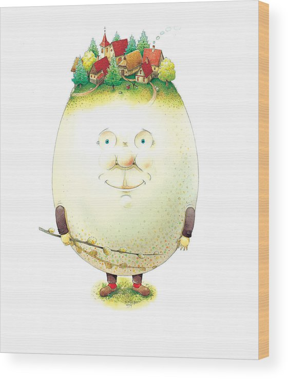 Easter Eggs Spring Green Town Wood Print featuring the painting Eastereggs 04 by Kestutis Kasparavicius