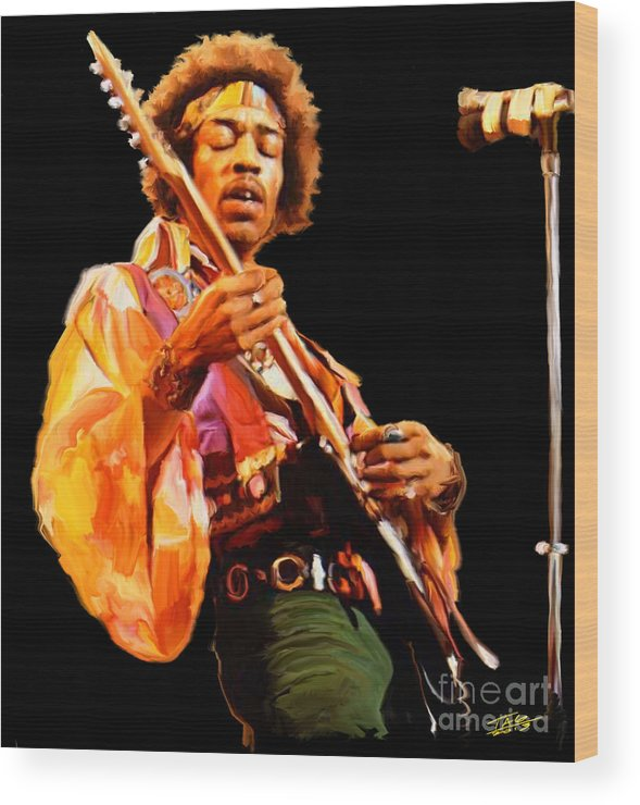 Jimi Wood Print featuring the painting Hendrix by Paul Tagliamonte