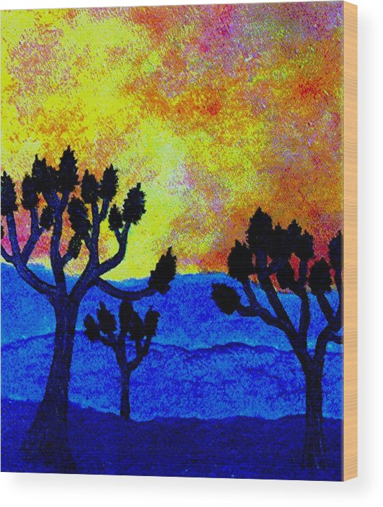 Landscape Wood Print featuring the painting Joshua Trees in Silhouette II by Dina Sierra
