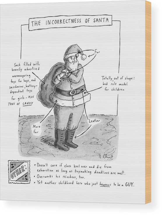 Holidays Wood Print featuring the drawing New Yorker December 19th, 1994 by Roz Chast