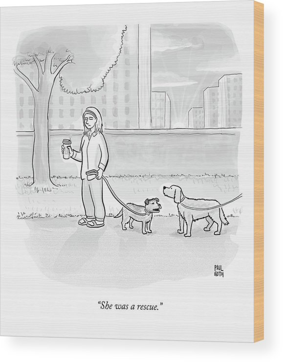 Dogs Wood Print featuring the drawing One Dog Talks To Another by Paul Noth