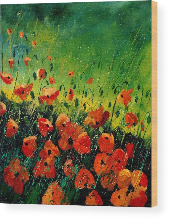 Poppies Wood Print featuring the painting Orange poppies by Pol Ledent