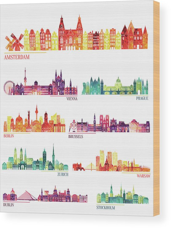 Dublin Wood Print featuring the digital art Skyline Detailed Silhouette Set by Katerina andronchik