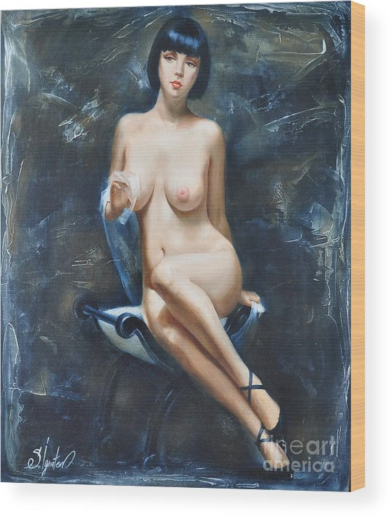 Oil Wood Print featuring the painting The french model by Sergey Ignatenko