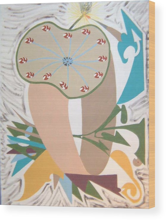 Abstract Wood Print featuring the painting Times up by Dean Stephens