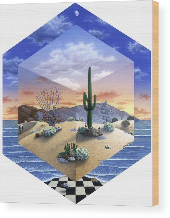 Desert Wood Print featuring the painting Desert on My Mind 2 by Snake Jagger