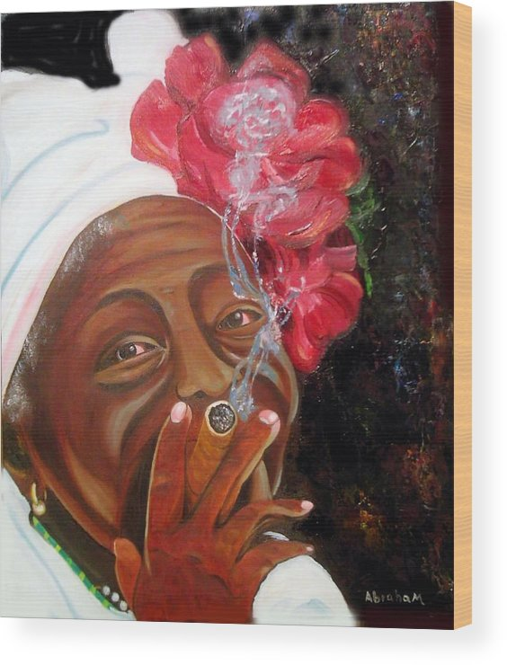 Cuban Art Wood Print featuring the painting Tobacco Lady by Jose Manuel Abraham