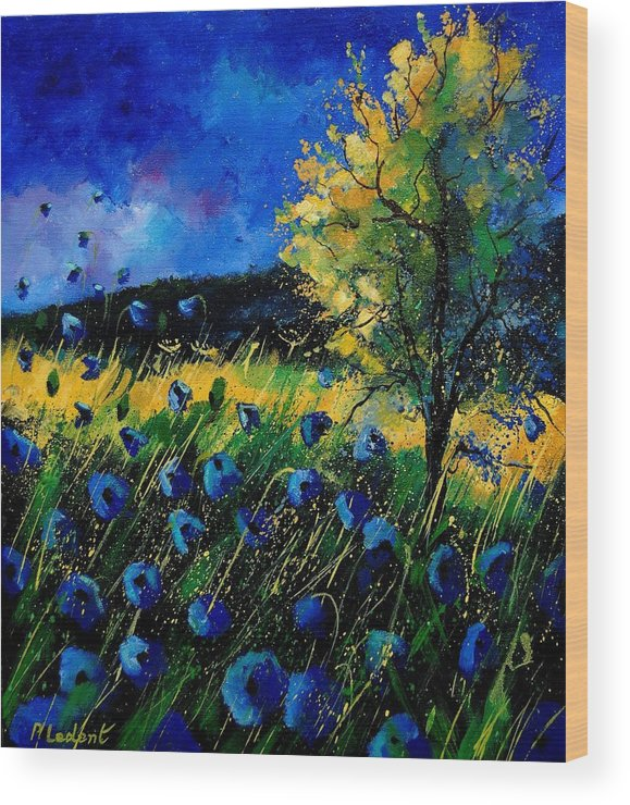 Poppies Wood Print featuring the painting Blue poppies by Pol Ledent