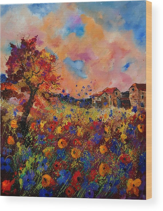 Poppies Wood Print featuring the painting Autumn Colors by Pol Ledent