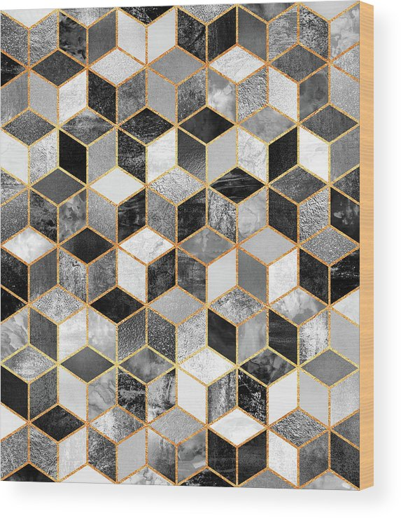 Graphic Design Wood Print featuring the digital art Black and White Cubes by Elisabeth Fredriksson