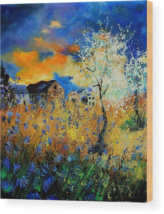 Poppies Wood Print featuring the painting Blooming trees by Pol Ledent