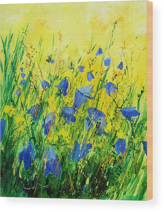 Poppies Wood Print featuring the painting Blue bells by Pol Ledent