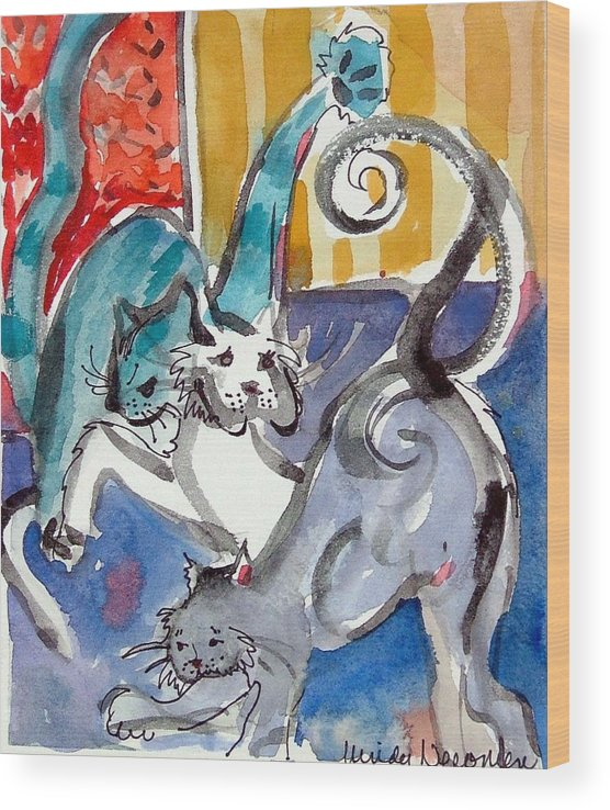Cat Wood Print featuring the painting Cat Fight by Mindy Newman
