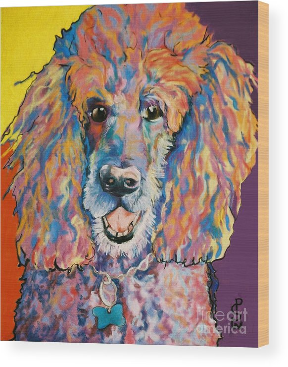 Standard Poodle Wood Print featuring the painting Cole by Pat Saunders-White