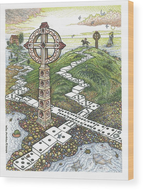Landscape Wood Print featuring the drawing Domino Crosses by Bill Perkins