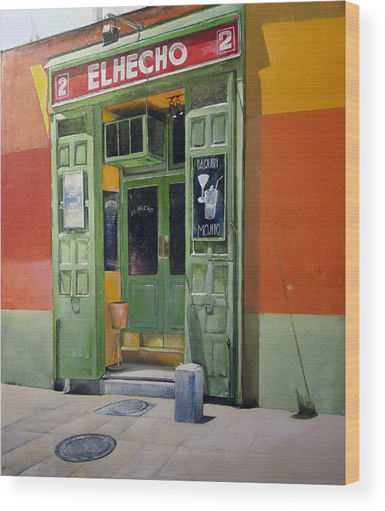 Hecho Wood Print featuring the painting El Hecho Pub by Tomas Castano